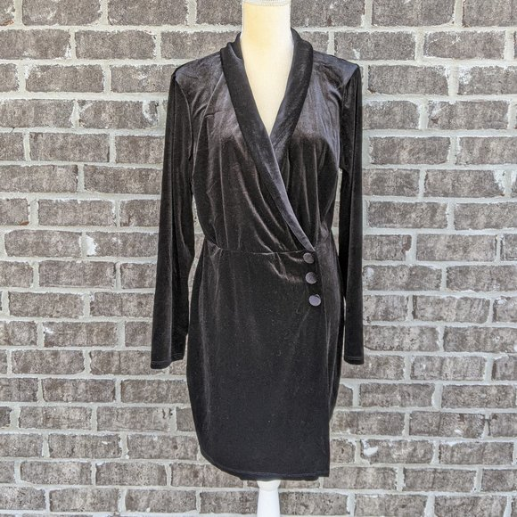 NWT Asos Velvet Tux Mini Dress